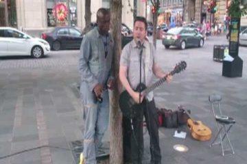 Straßenmusiker mit Seal